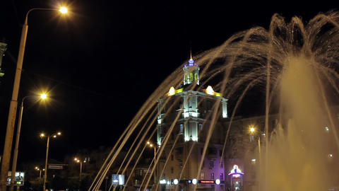 Fountain at night. Timelapse Stock Video Footage