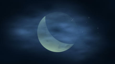 Moon and clouds Stock Video Footage