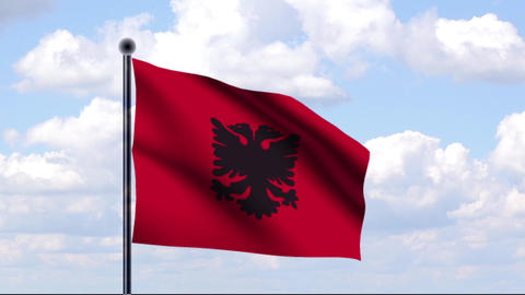 Animated Flag of Albania / Albanien Stock Video Footage