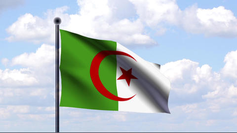 Animated Flag of Algeria / Algerien Stock Video Footage