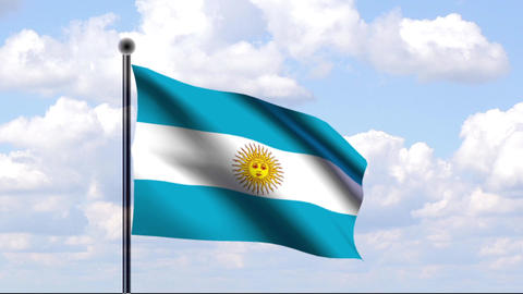 Animated Flag of Argentina / Argentinien Stock Video Footage