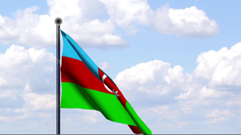 Animated Flag of Azerbaijan / Aserbaidschan Stock Video Footage