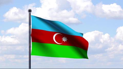 Animated Flag of Azerbaijan / Aserbaidschan Stock Video Footage