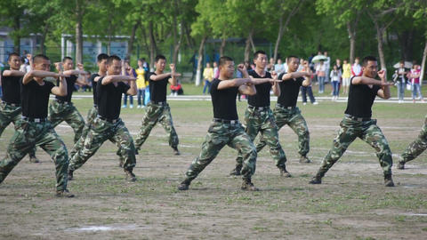 Chinese soldiers combat demonstration Live Action