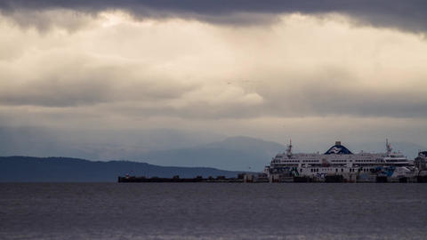 BC Ferry taking off and arriving Stock Video Footage