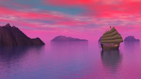 Oriental junk on the ocean by sunset - 3D render Stock Video Footage