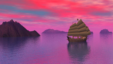 Oriental junk on the ocean by sunset - 3D render Stock Video Footage