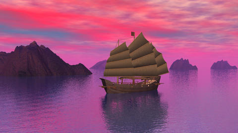 Oriental junk on the ocean by sunset - 3D render Animation