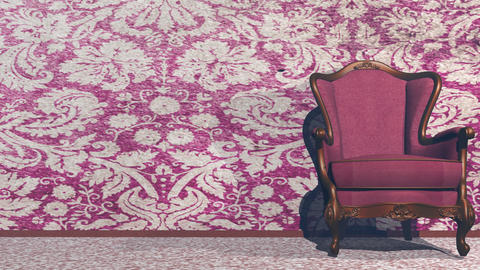 Vintage chair and room - 3D render Animation