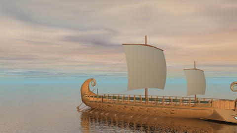 Trireme boat on the ocean - 3D render Stock Video Footage