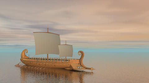 Trireme boat on the ocean - 3D render Animation
