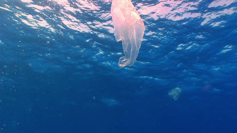 Plastic bag floating in ocean Footage