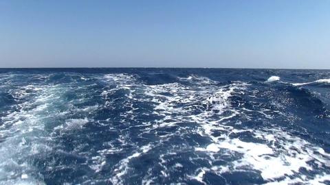 Wake behind ship Stock Video Footage