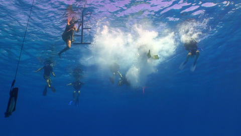 group of divers preparing to dive Footage