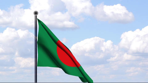 Animated Flag of Bangladesh / Animierte Flagge von Stock Video Footage