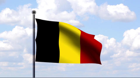 Animated Flag of Belgium / Animierte Flagge von Be Stock Video Footage