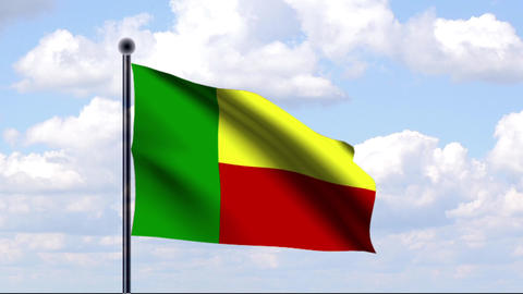 Animated Flag of Benin / Animierte Flagge von Beni Stock Video Footage
