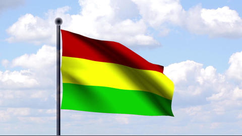 Animated Flag of Bolivia / Animierte Flagge von Bo Stock Video Footage