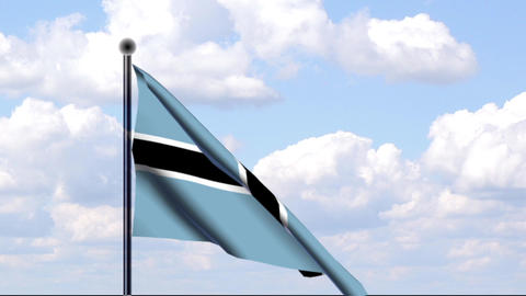 Animated Flag of Botswana / Animierte Flagge von B Stock Video Footage