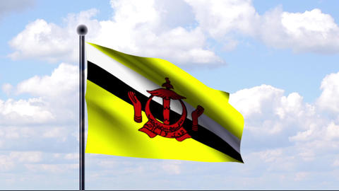 Animated Flag of Brunei / Animierte Flagge von Bru Stock Video Footage