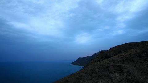 Timelapse sunset in the mountains. Mountain Meganom, Crimea, Ukraine Footage