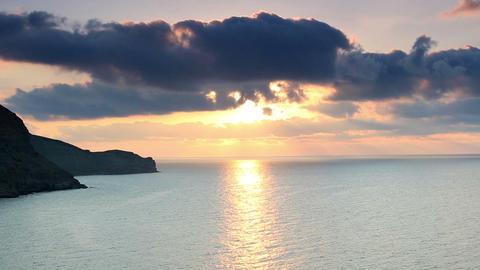 sunrise in the mountains. Mountain Meganom, Crimea, Ukraine Stock Video Footage
