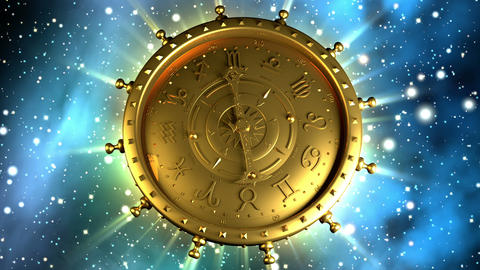 Golden Zodiac Machine And Stars stock footage