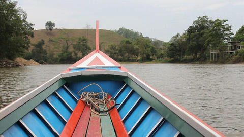 Long Tail Boat On River In Thailand Stock Video Footage