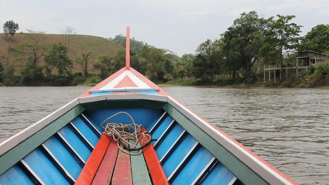 Long Tail Boat On River In Thailand Footage