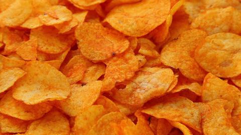 Potato paprika chips Stock Video Footage