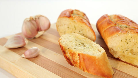 Tasty garlic bread Stock Video Footage