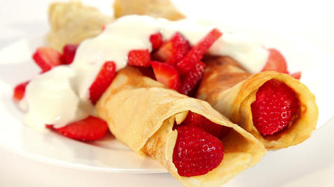 Pancake with strawberry and yogurt, sweet dessert Stock Video Footage