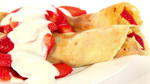 Strawberry crepe pancake with yogurt, sweet dessert Stock Video Footage