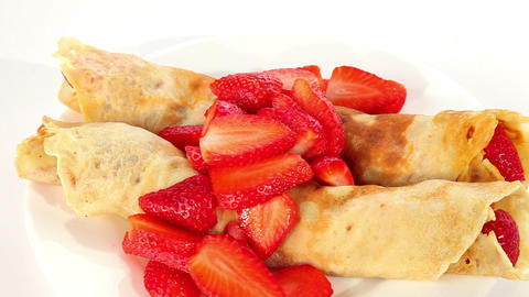 Pancake with strawberry, sweet dessert Footage