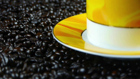 coffee beans,rotating coffee cup & dish Stock Video Footage