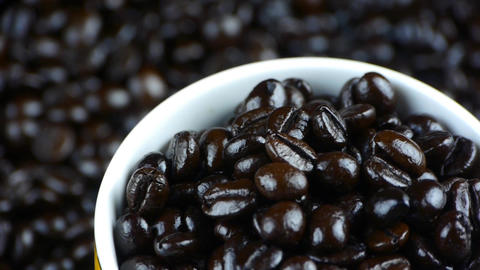 coffee beans in cup close up,top view Footage