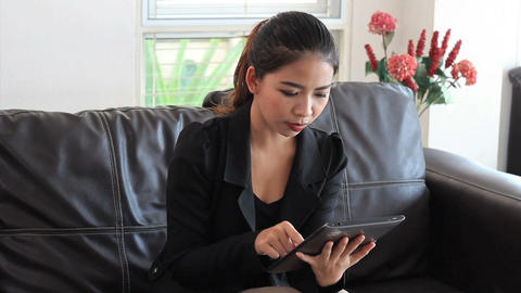 Asian Office Worker Using Tablet Footage