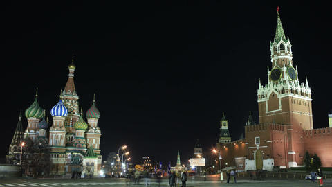 Kremlin and Basil's cathedral in Red Square in Moscow.... Stock Video Footage