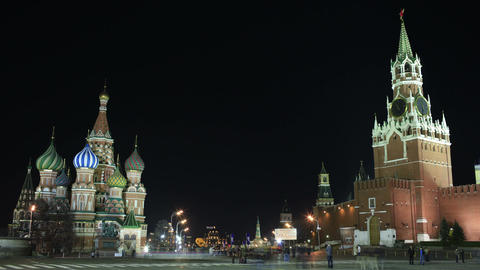 Kremlin and Basil's cathedral in Red Square in Moscow. Night time lapse Footage