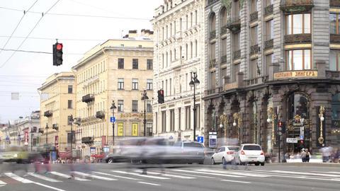 Nevsky prospect. Time lapse 1 Stock Video Footage