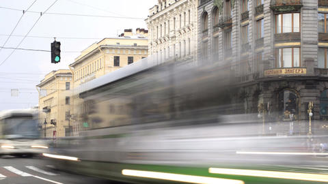 Nevsky prospect. Time lapse 1 Stock Video Footage