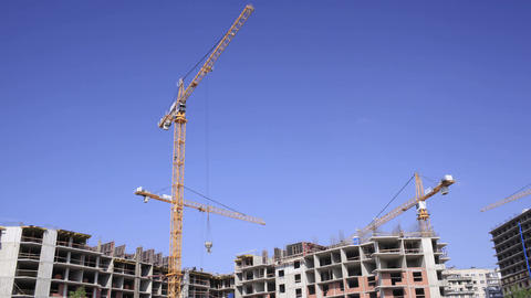 Construction cranes time lapse 2 Stock Video Footage