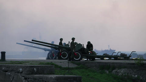 artillery fire shooting Stock Video Footage