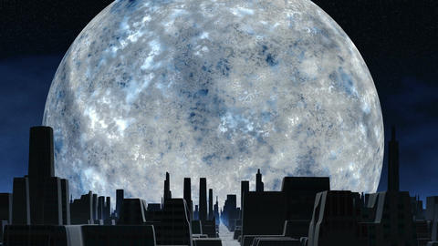Huge silver moon and city of aliens Animation