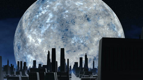 Huge silver moon and city of aliens Stock Video Footage