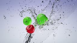 Water splashing apples Stock Video Footage