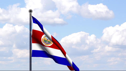 Animated Flag of Costa Rica Stock Video Footage