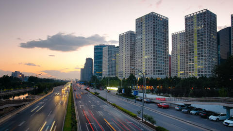 Skyscrapers in Beijing, China Timelapse Footage