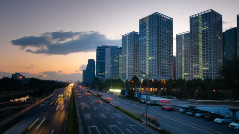 Skyscrapers in Beijing, China Timelapse Stock Video Footage