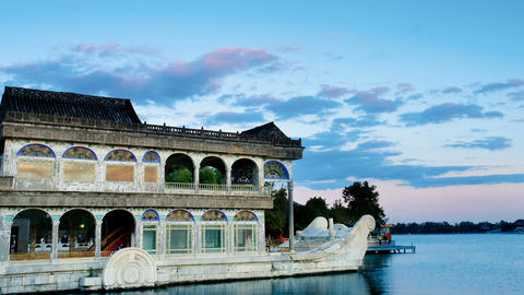Marble boat. Summer Palace Beijing Stock Video Footage